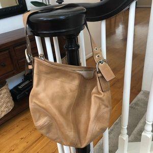 Coach leather light brown shoulder purse